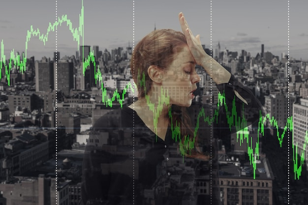 Stressed woman holding head with hands on abstract city, megapolis background. double exposure. virus alert, coronavirus pandemic, covid-19 epidemic. lost job, fired, worried, unemployment, crisis.