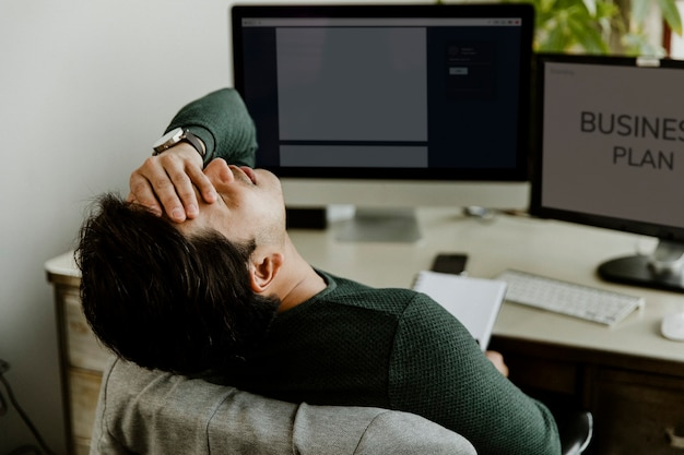 Stressful man working at home