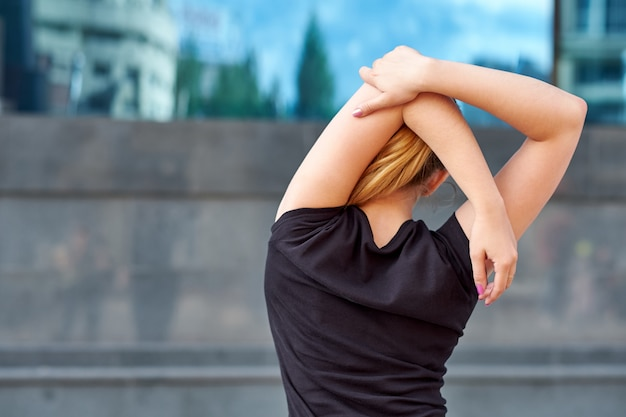Stretching fit or dancer or fitness woman doing exercise