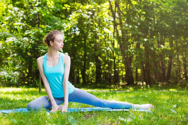 Stretching woman in outdoor.