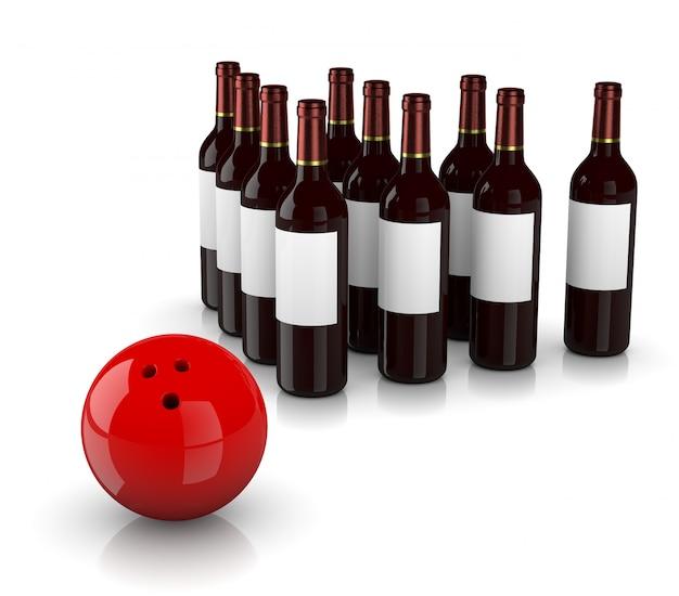Забастовка алкоголизм. бутылки и шар для боулинга