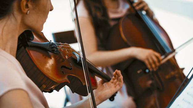 String band of girls playing