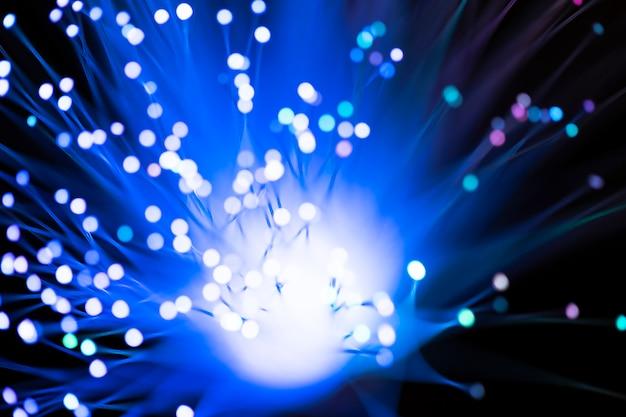 String optical fiber lights in blue