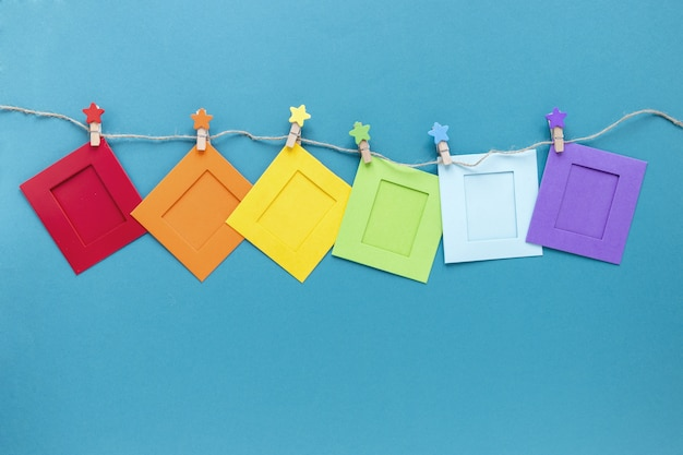 String with colorful origami shape