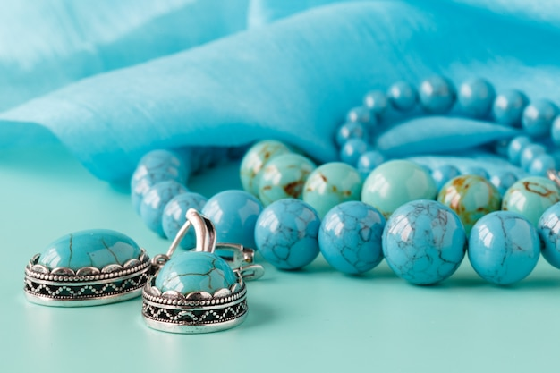 Strings of turquoise beads