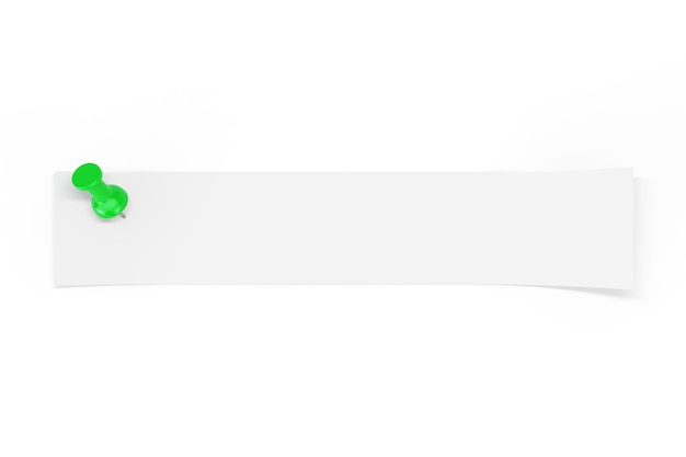 白い背景の上の緑のペーパーピンによって固定されたあなたのデザインのための空のスペースを持つ白紙のストリップ。 3dレンダリング