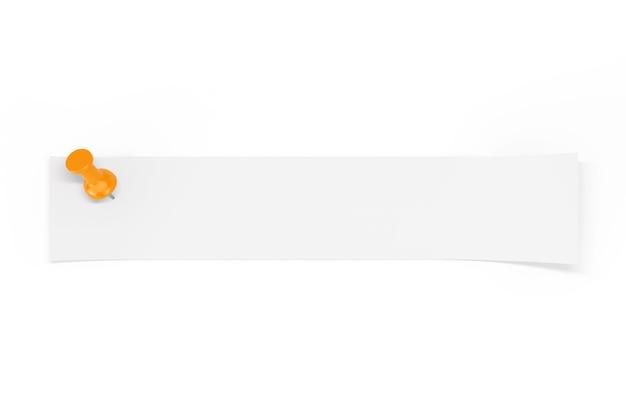 白い背景の上のオレンジ色のペーパーピンによって固定されたあなたのデザインのための空のスペースを持つ白紙のストリップ。 3dレンダリング