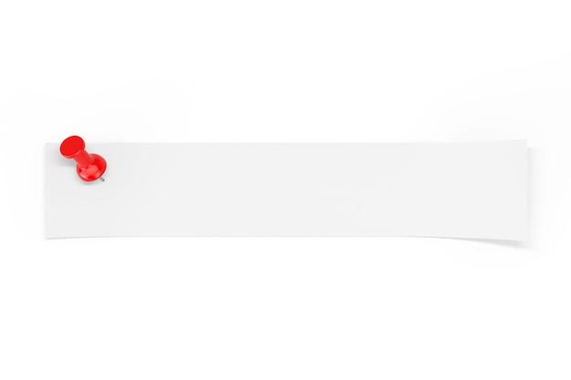 白い背景の上の赤いペーパーピンによって固定されたあなたのデザインのための空のスペースを持つ白紙のストリップ。 3dレンダリング