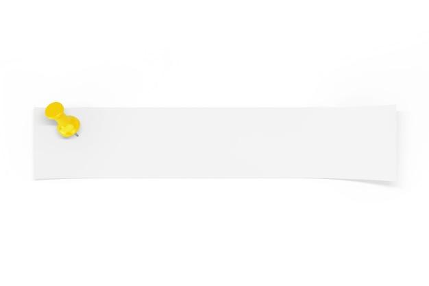白い背景の上の黄色いペーパーピンによって固定されたあなたのデザインのための空のスペースを持つ白紙のストリップ。 3dレンダリング
