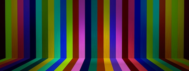 Stripe pattern with bright colors, platform scene show products presentation 3d render, panoramic image