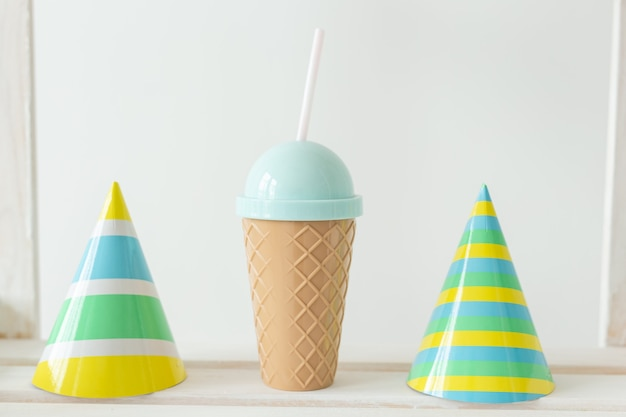 Striped colourful cones hats. birthday holiday party concept.