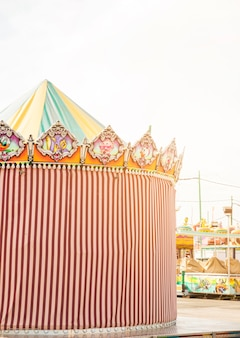 Striped decorative tent in the amusement park