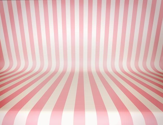 縞模様の、魅力的な、スタジオの背景。ピンクと白のストライプ。デザインのテンプレート。 3dイラスト。レンダリングします。