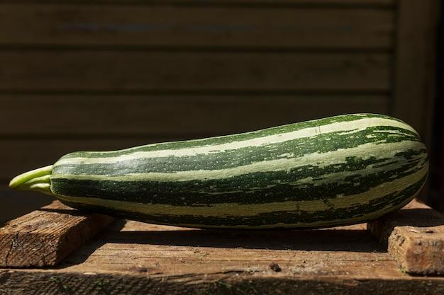 晴れた日に庭の木箱に縞模様の緑のズッキーニ。閉じる。テキスト用のスペース。