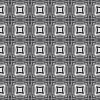 Striped hand drawn pattern. black symmetrical kaleidoscope background. repeating striped hand drawn tile. textile ready classy print, swimwear fabric, wallpaper, wrapping.