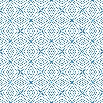 줄무늬 손으로 그린 패턴입니다. 파란색 대칭 만화경 배경입니다. 줄무늬 손으로 그린 타일을 반복합니다. 섬유 준비 멋진 인쇄, 수영복 직물, 벽지, 포장.