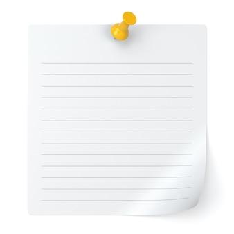 白い背景で隔離の縞模様のメモ用紙と画鋲-3dイラスト