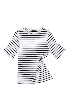 A striped shirt lies on a white background, isolated. layout, mockup, place for the label.