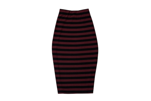 Striped skirt on white surface