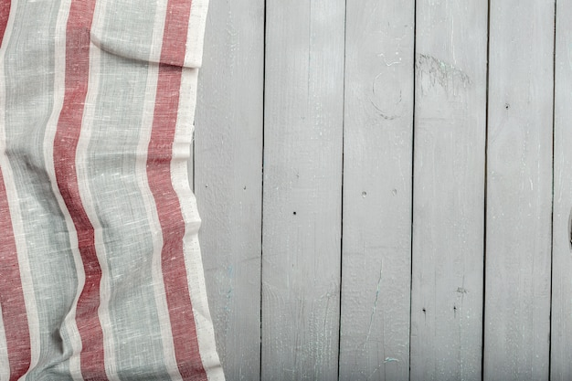 Striped tablecloth on wooden desk