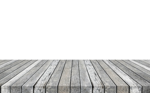 Striped wooden gray tabletop on white background. montage your product