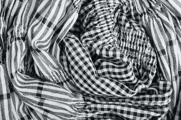 줄무늬와 체크 무늬 패브릭 질감