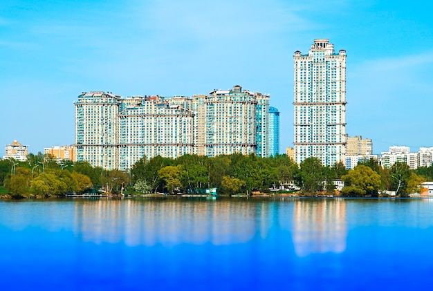 Strogino district skyscrapers moscow background
