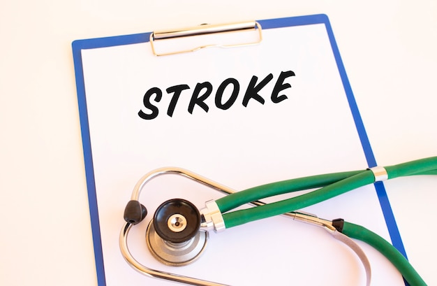 Stroke - text on medical folder with documents and stethoscope