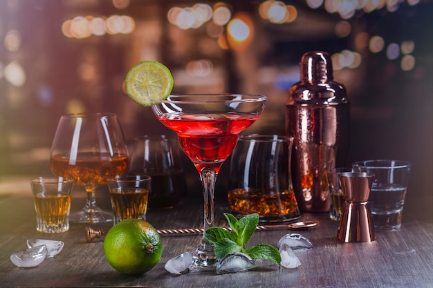 Strong alcohol drinks in bar