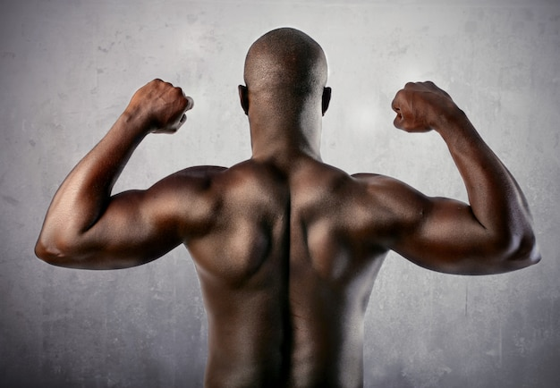 Strong black man's back