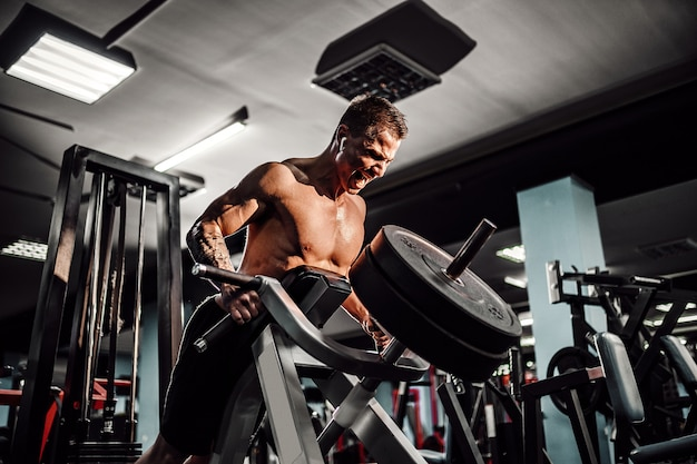 Strong bodybuilder doing heavy weight exercise for back on machine. t-pull exercise