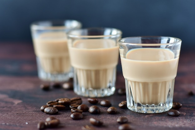 Strong coffee liqueur with coffee beans
