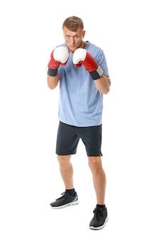 白い表面に強い男性ボクサー