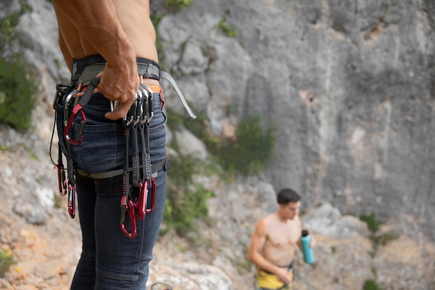 Strong man getting ready to climb
