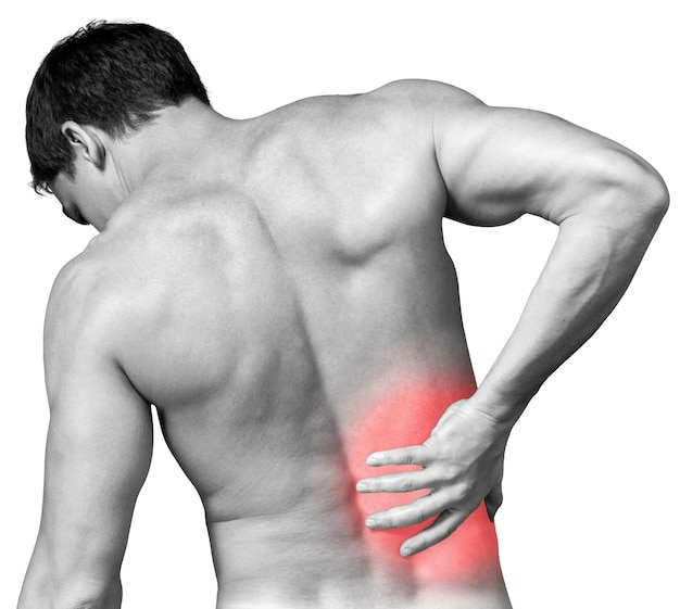 Strong man with back pain, back view