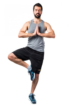 Strong religious muscular sport yoga