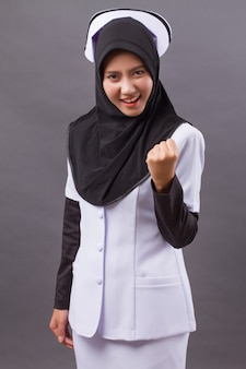 Strong successful confident happy muslim nurse
