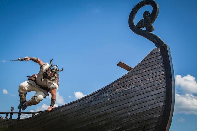Strong viking on his ship