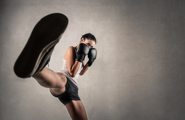 Strong woman boxing
