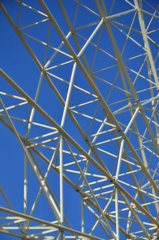 Structural details of a ferris wheel in an amusement park