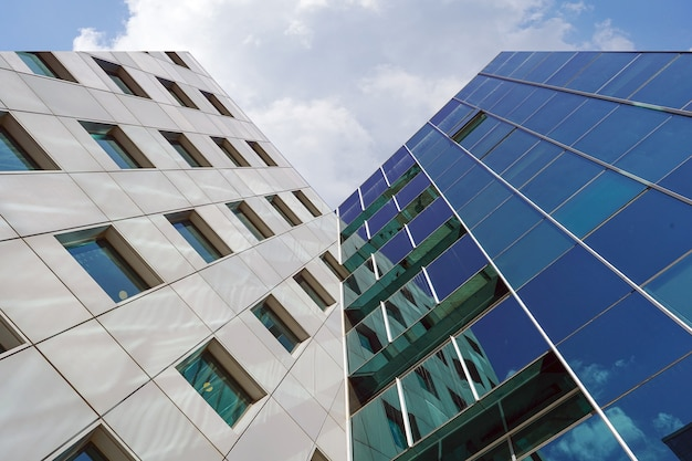 Structural glass facade of office building