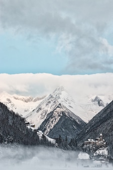 Structural shot of snowy mountain