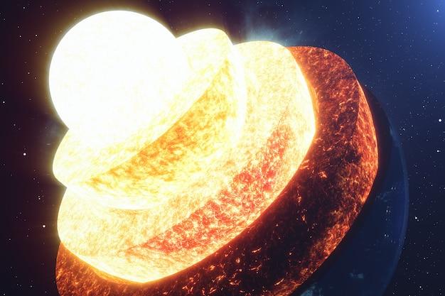 コア地球を構築します。地球の構造層。地球の地殻の構造。スペースビューでの地球の断面。 nasaから提供されたこの画像の要素。 3dレンダリング。
