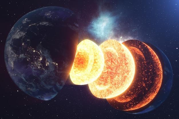 Структура ядра земли. структура слоев земли. строение земной коры. сечение земли в космическом представлении. элементы этого изображения предоставлены наса. 3d-рендеринг.