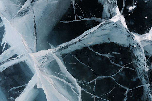 The structure of the deep and clear river ice with deep cracks