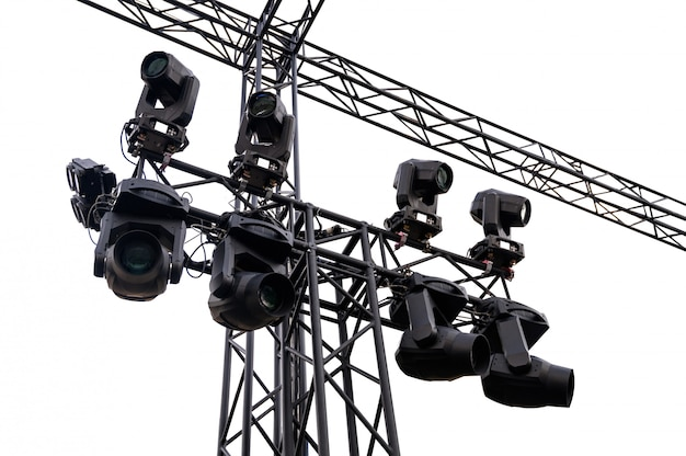 Structure metal black stage lights with spotlight