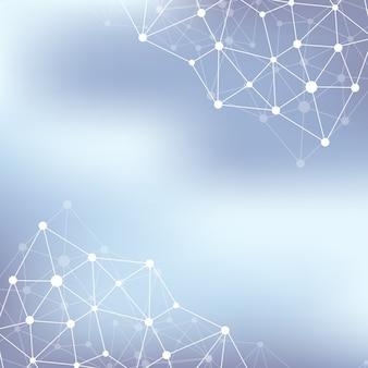 構造分子原子dnaと通信の背景。ニューロンの概念。点で結ばれた線。錯覚神経系。医学科学イラストの背景。