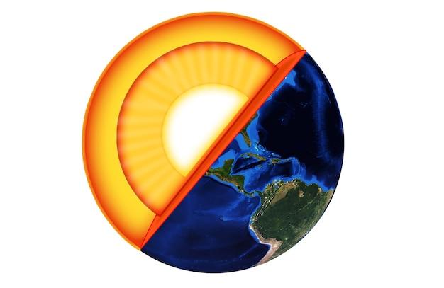 지구의 구조. 화이트 이상 격리 3d 렌더링