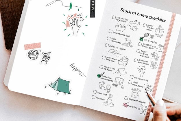 Stuck at home checklist in a notebook