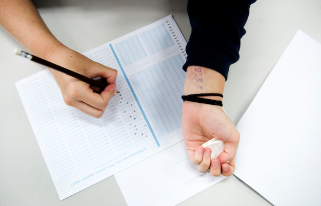 Student cheating examination for the test